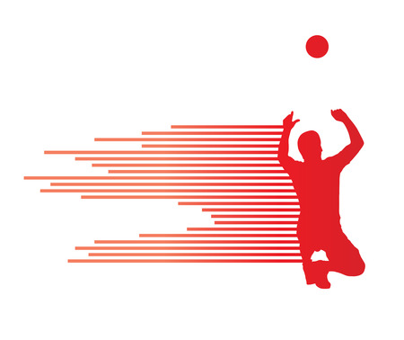 dynamic activity: Volleyball player vector silhouette background concept made of stripes Illustration