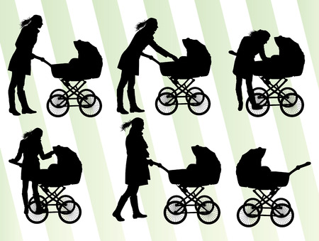 pram: Mother with baby pram vector background set for poster