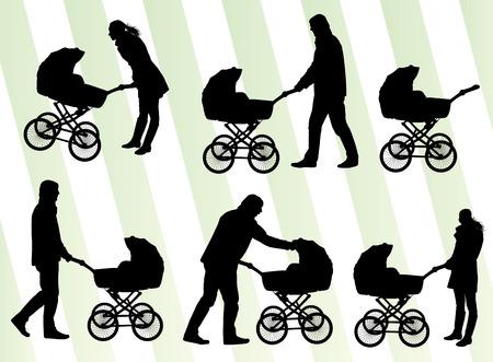 baby moeder: Moeder met baby kinderwagen vector achtergrond voor poster Stock Illustratie