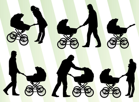 mother and baby: Mother with baby pram vector background set for poster
