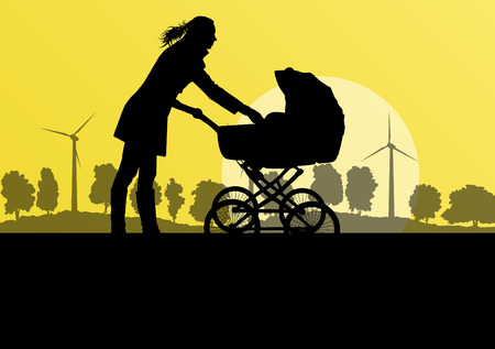 Mother with baby pram outdoor vector ecology background concept Vector