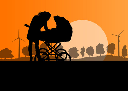 pram: Mother with baby pram outdoor vector ecology background concept Illustration