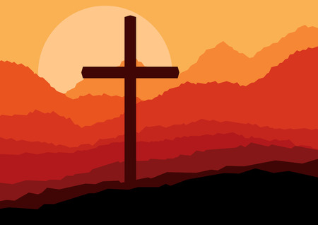 Cross and nature landscape vector concept background for poster