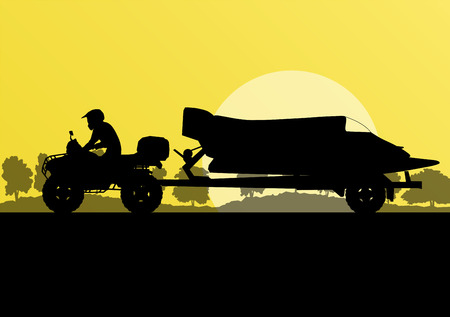 boat trailer: Yacht boat trailer vector background landscape with all terrain vehicle for poster Illustration