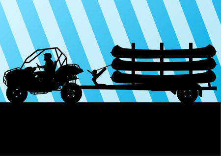 lake shore: Yacht boat trailer vector background landscape with all terrain vehicle for poster Illustration
