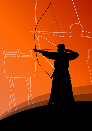 longbow: Active japanese kendo sport kyudo archer martial arts fighter bow silhouette abstract illustration background vector