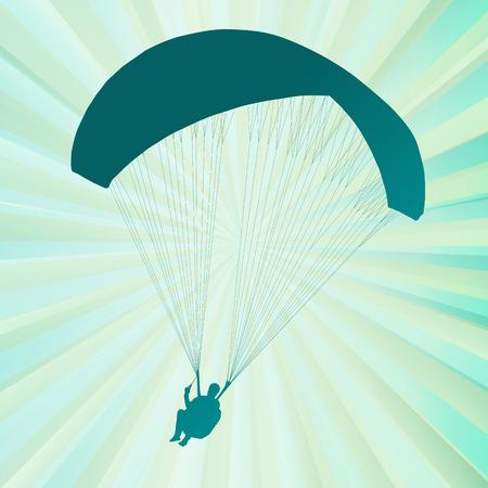 parapente: Parapente activo deporte de fondo abstracto del vector para el cartel