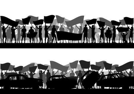 Les manifestants gens en colère foule avec des affiches et des drapeaux dans émeute paysage abstrait illustration de fond