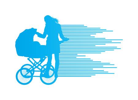 baby moeder: Moeder met kinderwagen vector achtergrond concept voor poster Stock Illustratie