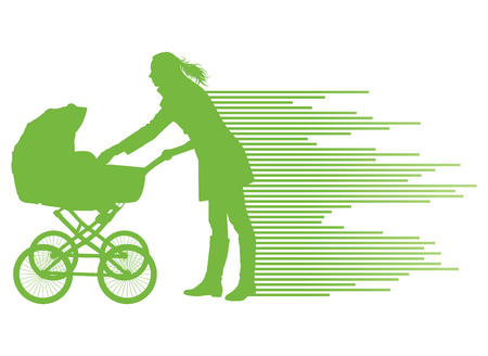 mother and baby: Mother with baby carriage vector background concept for poster