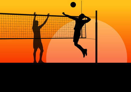 volleyball: Active young men volleyball player sport silhouettes in abstract background illustration