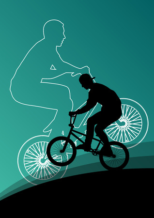stunt: Extreme cyclists bicycle riders active children sport silhouettes vector background illustration
