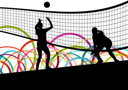 balon de voley: Activo mujeres jóvenes jugador de voleibol deporte siluetas en color de fondo abstracto ilustración vectorial