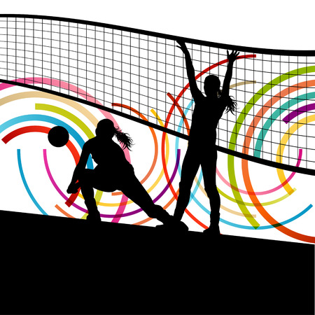 nets: Active young women volleyball player sport silhouettes in abstract color background illustration vector