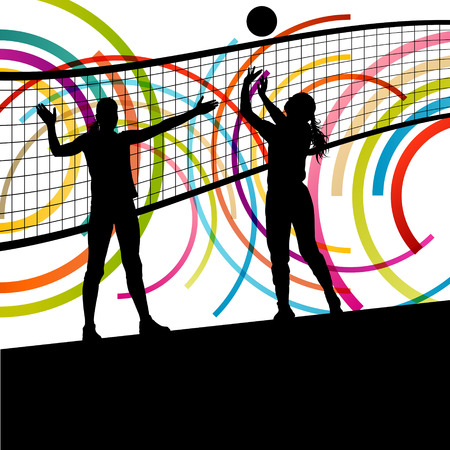 volleyball team: Active young women volleyball player sport silhouettes in abstract color background illustration vector
