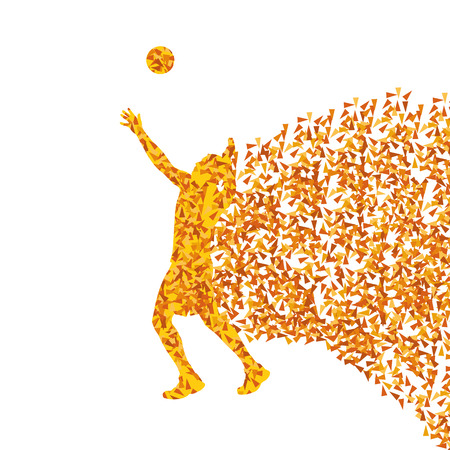 volleyball serve: Jugador de voleibol de los hombres del concepto del fondo de la silueta del vector hecha de fragmentos