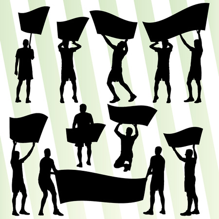 rallies: Protesters angry people crowd with posters and flags in abstract riot landscape background illustration