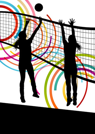 pelota de voley: Activo mujeres jóvenes jugador de voleibol deporte siluetas en color de fondo abstracto ilustración vectorial