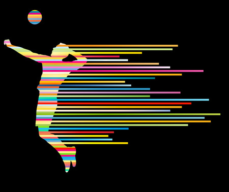 Volleyball player vector silhouette background concept made of stripes Çizim