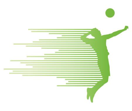 Jugador de voleibol silueta del vector del concepto del fondo hecha de rayas