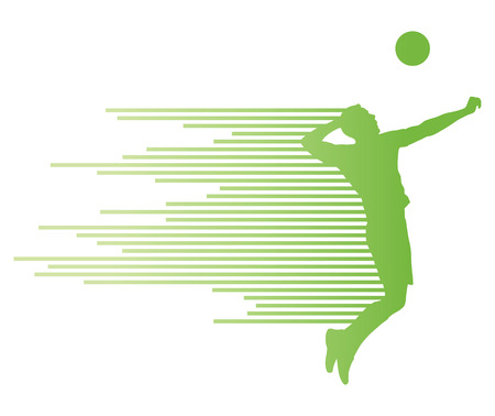Volleyball player vector silhouette background concept made of stripes Illustration