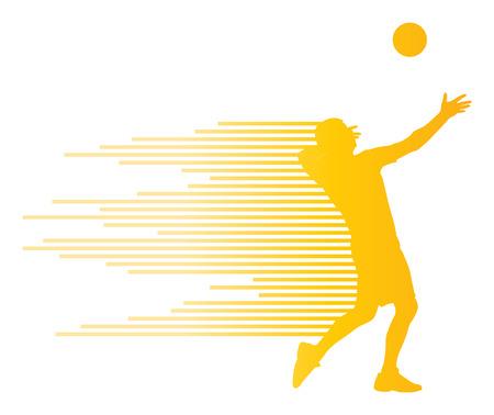 volleyball serve: Jugador de voleibol silueta del vector del concepto del fondo hecha de rayas Vectores