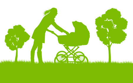 Mother with baby pram outdoor vector ecology background concept Illustration