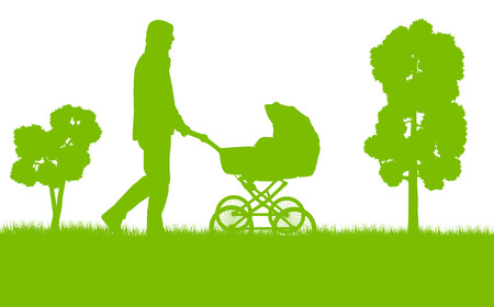 Dad with baby pram outdoor vector ecology background concept