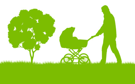 Dad with baby pram outdoor vector ecology background concept Vector