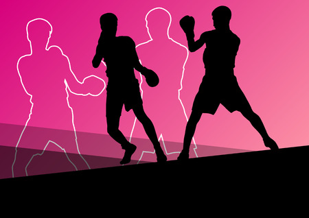 beat the competition: Boxing active young men box sport silhouettes abstract background illustration vector