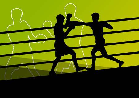 boxing ring: Boxing active young men box sport silhouettes abstract background illustration vector