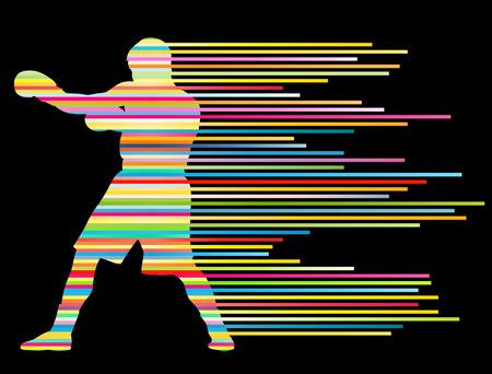 복싱 활성 젊은 남성 스포츠 실루엣 추상적 인 배경 그림 벡터 개념은 줄무늬의