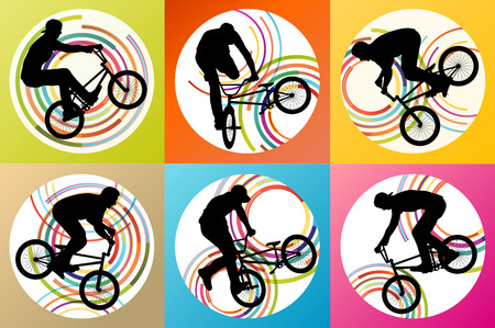 helmet seat: Extreme cyclists bicycle riders active children sport silhouettes vector background illustration concept Illustration