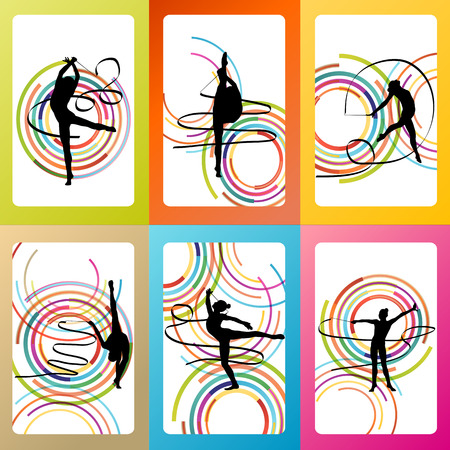 Art gymnastics with ribbon vector background set concept Vector