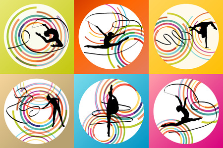Art gymnastics with ribbon vector background set concept Vettoriali