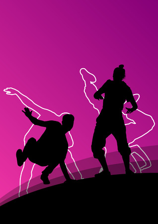 Active young man and woman dancers silhouettes in abstract line background illustration vector Vector Illustration