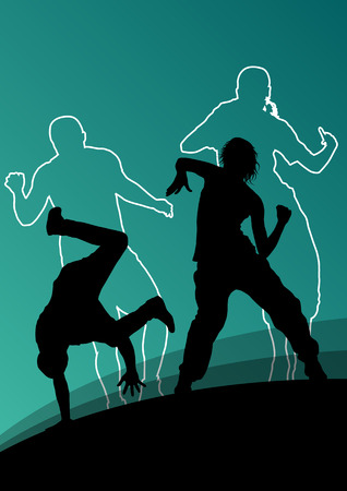 music figure: Active young man and woman dancers silhouettes in abstract line background illustration vector