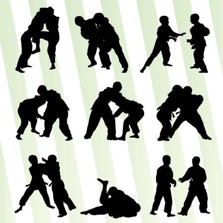 judo: Judo lucha muchacho set vector del concepto del fondo para el cartel