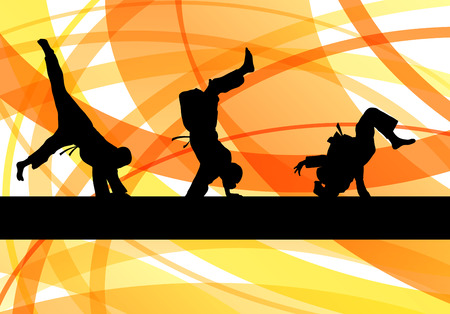 karate kick: Judo fight boy vector background concept for poster
