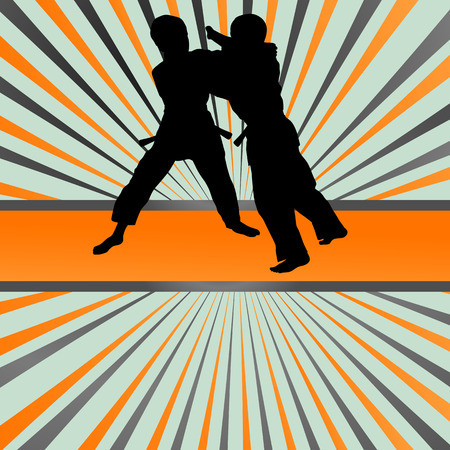 kung: Judo fight boy vector background concept for poster