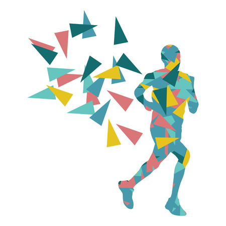 fragments: Marathon runner abstract vector background concept made of fragments for poster Illustration