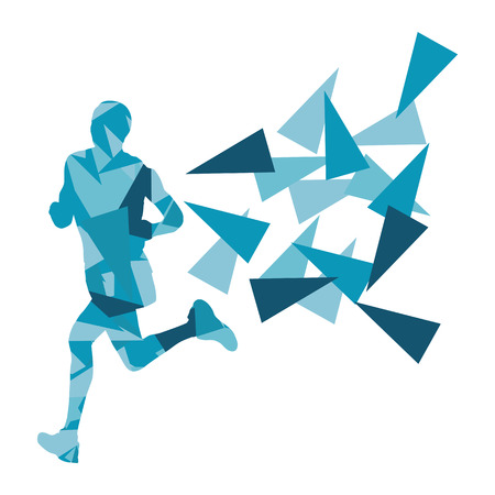 dexterity: Marathon runner abstract vector background concept made of fragments for poster Illustration