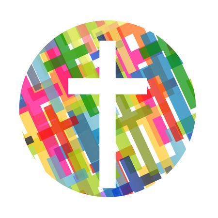 pasqua cristiana: Il cristianesimo concetto di religione croce astratto illustrazione vettoriale