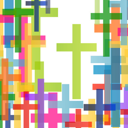 people in church: Christianity religion cross concept abstract background vector illustration