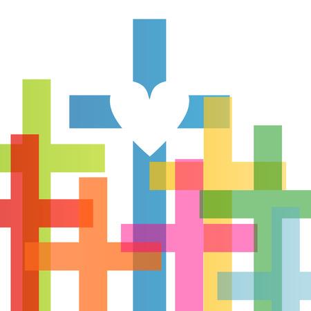 cristianismo: Cristianismo religi�n concepto cruz fondo abstracto ilustraci�n vectorial