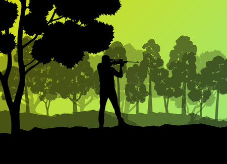 gun silhouette: Hunter silhouette background landscape vector concept with forest for poster