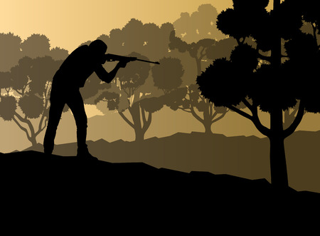 upland: Hunter silhouette background landscape vector concept with forest for poster