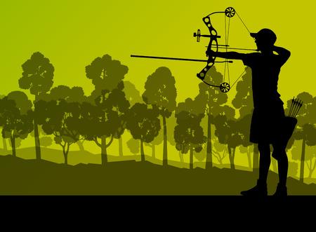 Actieve jonge boogschieten sport silhouet in abstracte achtergrond illustratie vector natuur landschap Stock Illustratie
