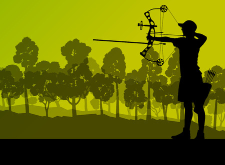archery: Active young archery sport silhouette in abstract background illustration vector nature landscape