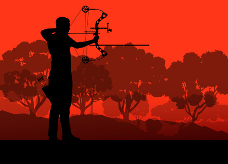 longbow: Active young archery sport silhouette in abstract background illustration vector nature landscape